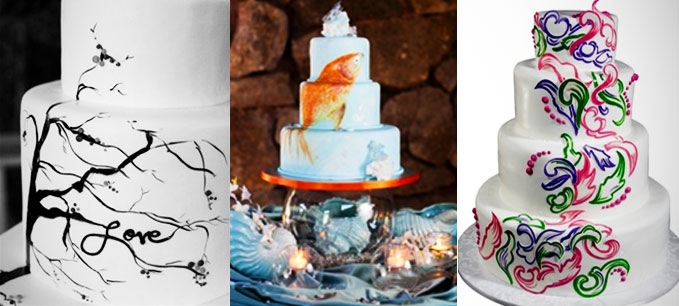 San Diego Hand Painted Wedding Cakes